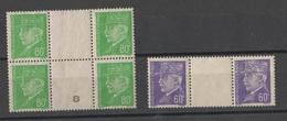 FRANCE 1941-1942  N° YT 509** 513**  Bloc De 4 Millesime 8 Et Interpanneau - 1941-42 Pétain