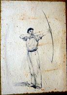 TIR A L'ARC DESSIN ANCIEN A LA PLUME VERS 1930 TRES BELLE FACTURE  15 X 11 CM  BON ETAT - Archery
