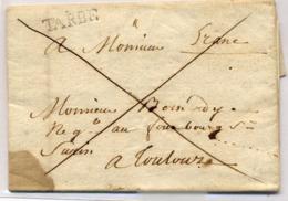 "C14- TARBE Lenain N°8 + ""franc ""  Hautes Pyrénées Lenain N°11  De 1784  Indice 17 - Poststempel (Briefe)"
