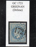 Drôme - N° 29A Obl GC 1721 Grignan - 1863-1870 Napoleone III Con Gli Allori