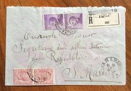 S.ARCANGELO DI ROMAGNA FORLI' RACCOMANDATA  CON MICHETTI + LEONI PER LA REPUBBLICA DI S.MARINO IN DATA 6/5/25 - 1900-44 Victor Emmanuel III