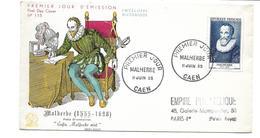 ENVELOPPE Premier Jour à CAEN (14) En 1955... MALHERBE ( 1555-1628) - FDC