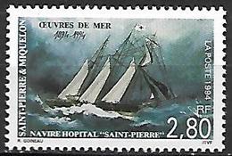 SAINT-PIERRE  ET  MIQUELON    -   1994 .  Y&T N° 598 ** .  Navire Hopital / Croix-rouge - Unused Stamps