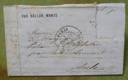 Pli Ballon Monté, Cachet Du 22 Novembre 1870 Pour Villebertain Par Isle-Aumont (Aube), Timbre Découpé - Marcophilie (Lettres)