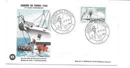 ENVELOPPE Journée Du Timbre à LYON (69).. Pose D'un Câble Sous-marin Par Un Navire Du Ministère Des Postes Et Télé - FDC