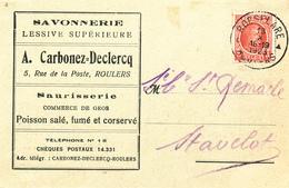 569/27 -  Carte Privée TP Houyoux ROESELARE 1923 - Entete Carbonez-Declercq , Savonnerie , Saurisserie (Tarifs D'époque) - 1922-1927 Houyoux