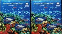 AUSTRALIA, 2018, MNH,MACAU STAMP SHOW, SHARKS, FISH, CORALS, 1 PERFORATE+ 1 IMPERFORATE S/SHEET - Turtles