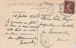 Cachet Hexagonal FORT DE DOUAUMONT  Meuse 1920 Sur Carte Postale Pour Espondeilhan Hérault - France