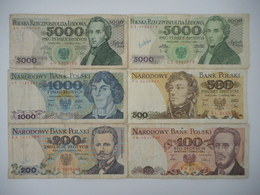 Poland 100,200,500,1000,5000 Zlotych 1982-1988 (Lot Of 6 Banknotes) - Poland