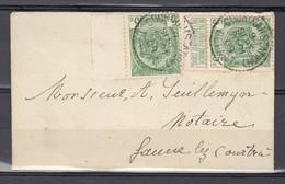 2x Nr 83 Op Brief Gestempeld Van Courtrai Station Depart Naar Lauwe Lez Courtrai - 09 Sept 1909 - 1893-1907 Armoiries
