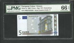 "Greece  ""Y""  5  EURO Duinseberg Signature! Printer P005H2!! PMG 66 EPQ (Exceptional Paper Quality!) GEM UNC! - 5 Euro"
