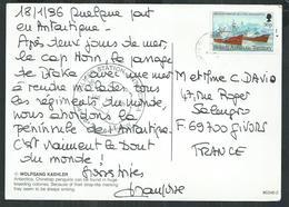 British Antarctic Territory ,RRS John Biscoe Et Shackleton Sur Carte Postale, Cancelation Palmer Station - Covers & Documents
