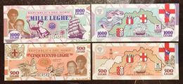 REPUBBLICA DEL NORD 500 + 1000 LEGHE 1993 Federalismo Dei Popoli Imperia Savona Genova La Spezia Lotto 2174 - 100 Lire