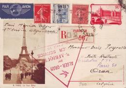 132 A Bel Entier Paris Marseille Alger 1 Er Service Alger Oran 1937 Très Bon état - Entiers Postaux