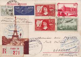 133 A Bel Entier 1 Er Service France Prague Prague Liberec 1937 Très Bon état - Cartes Postales Types Et TSC (avant 1995)