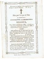"Doodsprentje  DELCOUR Hippolyte - °Gent En Overleden ""au Couvent"" De Nederbrakel 1850 - Images Religieuses"