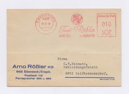 DDR AFS - EIBENSTOCK, Textil Rößler -10Pfg- 1968 Auf Firmenkarte - DDR