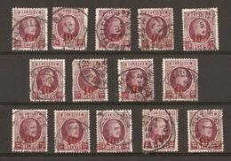 Belgique 1927 - Albert Houyoux - Cob 246 - Petit Lot De 14° - Bree - Kortrijk - Leval-Trahegnies - Ougree - Zedelghem - 1922-1927 Houyoux