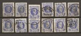 Belgique 1927 - Albert Houyoux - Cob 257 - Petit Lot De 12° - Cointe - Eupen - Gavere - Heist Op Den Berg - Lier - Namen - 1922-1927 Houyoux