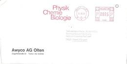 "Motiv Brief  ""Awyco AG, Olten""  (Freistempel  Physik Chemie Biologie)          1984 - Suisse"