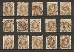 Belgique 1922/7 - Albert Houyoux - Cob 203 - Petit Lot De 15° - Aalst - Braine - Kortrijk - Lier - Merxem - Ruddervoorde - 1922-1927 Houyoux