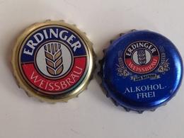 Lote 2 Chapas Kronkorken Caps Tappi Cerveza Erdinger. Alemania - Beer