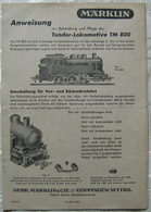 MÄRKLIN H0 Anleitung 1949 Tender Lokomotive TM 800 Mehrsprachig Waschzettel - HO Scale