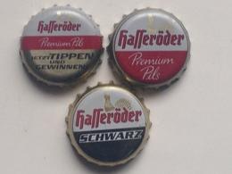 Lote 3 Chapas Kronkorken Caps Tappi Cerveza Hasseroder. Alemania - Beer