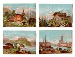 Lot 4 Chromos BOGNARD, Sorisi Bog 43-6-1, Paysages, Pub Mathieu, Joigny - Chromo