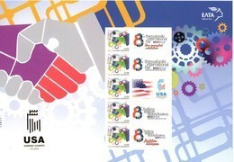 GREECE, 2018 ,MNH, THESSALONIKI TRADE FAIR, USA HONORED COUNTRY, 2 PERSONALIZED SHEETLETS WITH TABS - Stamps
