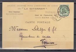 Nr 83 Op Postkaart Gestempeld Van Gand Sud Naar Verviers - 21 Mai 1910 - 1893-1907 Armarios