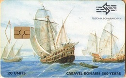 Antilles (Neth) - Bonaire, Telefonia Bonairano, Caravel Bonaire 500 Years, 20 Units, Sailing Ships, 2000, Used - Antilles (Netherlands)