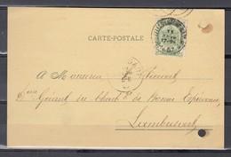 Nr 56 Op Postkaart Gestempeld (ambulant) Van Bruxelles-Luttre-Namur 1 Naar Lambusart - 11 Fevr 1907 - 1893-1907 Armarios
