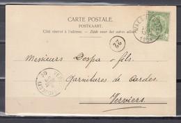 Nr 56 Op Postkaart Gestempeld Van Waesmunster Naar Verviers - 02 Aout 1904 - 1893-1907 Armarios