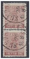 SUEDE -- FACIT N°11 -- 30 ÔRE BRUN -PAIRE VERTICALE-OBLITERE LE 20/8 1857 -- - Schweden