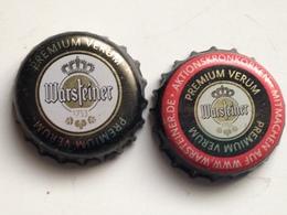 Lote 2 Chapas Kronkorken Caps Tappi Cerveza Warsteiner. Alemania - Beer