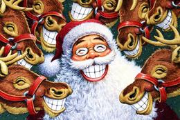 Santa Claus And Camels New Year Modern Rare New Postcard #115/3 - Kerstman