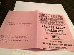 Adulte Seule Rencontre Du 20 Au 22 Février 987 à Nice Pieu De Nice  Église De Jésus-Christ Dessin Des Derniers Jours - Advertising