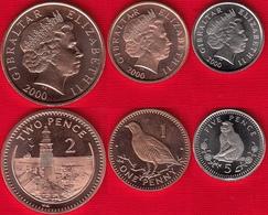 Gibraltar Set Of 3 Coins: 1 - 5 Pence 2000 UNC - Gibraltar