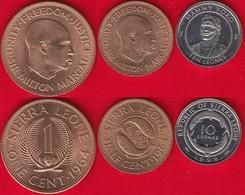 Sierra Leone Set Of 3 Coins: 1/2 Cent - 10 Leones 1964-1996 UNC - Sierra Leone