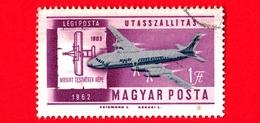 UNGHERIA - MAGYAR - Usato - 1962 - Storia Dell'aviazione - Aerei - IL-18 Malév And Wright 1903 Plane - 1 P. Aerea - Posta Aerea