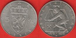 """Norway 5 Kroner 1975 """"Krone Currency Anniversary"""" XF-AU - Norway"""