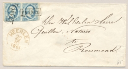 Nederland - 1861 - 2x 5 Cent Willem III In Paar Op Envelop Van Heerlen Naar Roermond - 1852-1890 (Wilhelm III.)