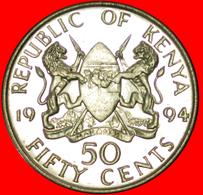 # COCK: KENYA ★ 50 CENTS 1994 YEAR=TYPE MINT LUSTER! LOW START ★  NO RESERVE! Daniel Toroitich Arap Moi (1978-2002) - Kenya