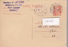 Cachet Convoyeur ABBANCOURT  A  AMIENS Sur Entier Postal 885-cp1  12f Orange - Entiers Postaux