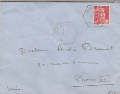 LSC 12/12/1947 - Cachet Hexagonal Perlé  ISSENHEIM  (Haut Rhin) Sur Marianne Gandon 6f Seul Sur Lettre - Handstempels