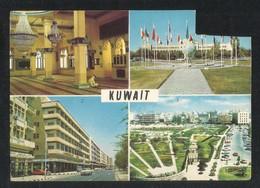 Kuwait Picture Postcard 4 Scene Osman Mosque Shuwaikh School Fahad Salem Street Public Gardens View Card - Koweït