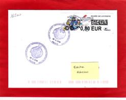 Atm-Lisa / Lettre Verte DD 0.80 € Sur Lettre Circulée Obl 1er Jour  Saint-Désiré, Musée De La Poste, 6.11.2018 - 2010-... Illustrated Franking Labels