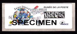 Atm-Lisa /  SPECIMEN,  Saint-Désiré, Musée De La Poste, 6.11.2018 - 2010-... Illustrated Franking Labels