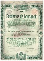 Ancienne Action - Fonderies De Lougansk Société Anonyme - Titre De 1908 - Russie